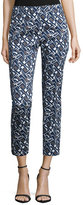 Peserico Slim-Leg Geometric-Print Cropped Pants, Navy Print
