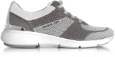 Michael Kors Skyler Silver and Optic White Knit Lace-up Trainers