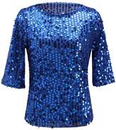 Soficy Women's Sequins Pullover T-Shirt Evening Top 8