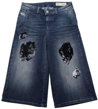 Diesel Wide Leg Sequined Denim Jeans