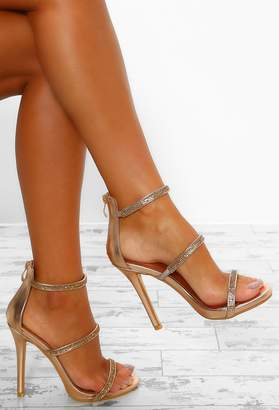 Pink Boutique Deep Thoughts Rose Gold Diamante Strap Stiletto Heels