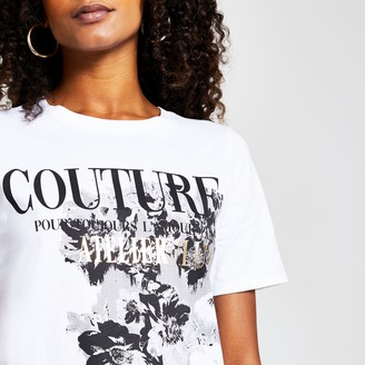 River Island Womens White short sleeve 'Couture' floral t-shirt