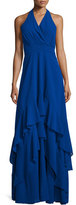 Parker Alofa Sleeveless V-Neck Tiered Ruffle Gown