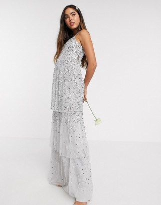 Amelia Rose Bridesmaid tiered ombre sequin maxi in dove grey