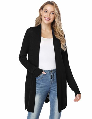 Irevial Waterfall Cardigan for Women Lightweight Long Sleeve Open Front Cardigans Mid-Length Warm Cardigan Sweater Black