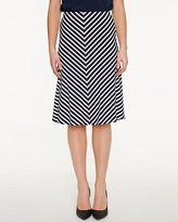 Le Château Stripe Jersey Knit Flared Skirt