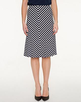 Le Château Stripe Jersey Knit Flared Skirt
