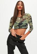 Missguided Petite Khaki Camouflage Mesh Long Sleeve Top