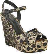 Dolce & Gabbana 90mm Leopard-Print Wedge Platform Sandals