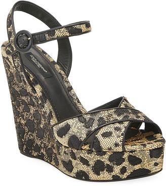 Dolce & Gabbana 90mm Leopard-Print Wedge Platform Sandals