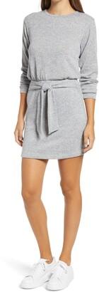 Fraiche by J Tie Front Long Sleeve Sweater Dress