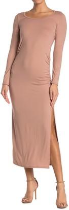 Velvet Torch Long Sleeve Ruched Maxi Dress