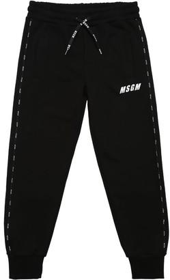MSGM Logoed Piping Cotton Sweatpants