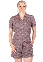 Noble Mount Womens Cool Breeze Woven Short Pajama Set - Flamingos Grey/Pink