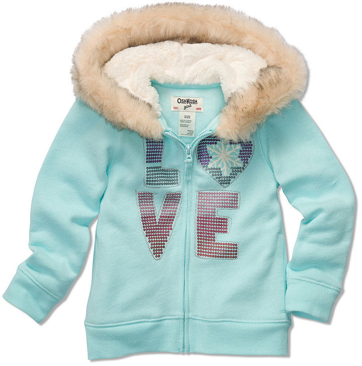 Osh Kosh Kids Hoodie, Little Girls Toddler Faux-Fur Love Hoodie