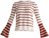 Paisie Striped Top With Contrasting Flared Cuff In White & Brown