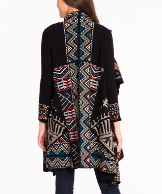 Paparazzi Women's Cardigans BLACK - Black Geometric Embroidered Open Cardigan - Women