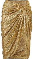 Michael Kors Metallic Fil Coupé Draped Organza Midi Skirt - Gold
