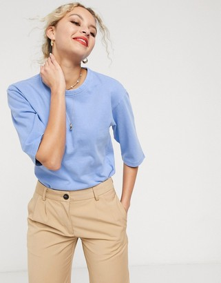 And other stories & organic cotton round neck t-shirt in blue