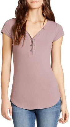 William Rast Women's Willliam Gordon 2.0 Cap Sleeve Henley