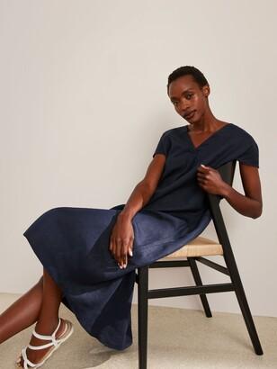 John Lewis & Partners Linen Elliptical Hem Dress, Navy