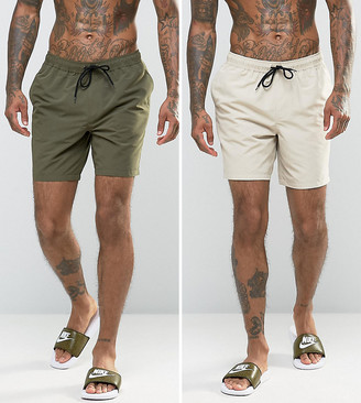 ASOS DESIGN 2 pack swim shorts 2 pack in khaki & stone mid length save