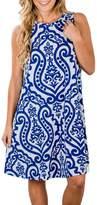 ZESICA Women's Summer Sleeveless Damask Print Pocket Loose T-shirt Dress