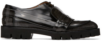 Maison Margiela Black and Grey Spliced Moccasin Loafers