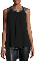 Neiman Marcus Sequined Chiffon Top, Black