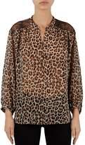 Gerard Darel Banksia Lace Shoulder Leopard Print Blouse
