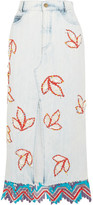 Peter Pilotto Lace-trimmed Embellished Denim Midi Skirt - Light denim