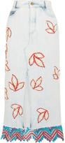 Peter Pilotto Lace-trimmed Embellished Denim Midi Skirt - UK8