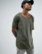 Criminal Damage Waffle Knitted Relaxed Fit T-shirt In Olive