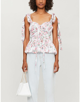Olivia Rose The Label Olea floral-print strappy cotton top