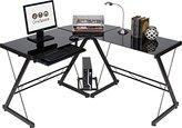 OneSpace 50-JN110505 Ultramodern Glass L-Shape Desk, Black