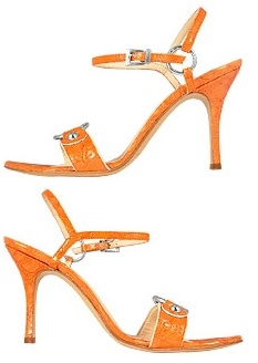 Luciano Padovan Orange Ring Detail Croco-style Leather Sandal Shoes