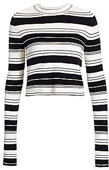 Proenza Schouler White Label Women's Pinstripe Cropped Sweater