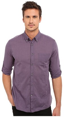 John Varvatos Roll Up Sleeve Shirt w/ Button-Down Collar Single Pocket (Mulberry) Men's Long Sleeve Button Up