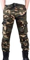 Feoya Men's Outdoor Casual Cotton Trousers Military Camouflage Combat Cargo Pants