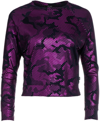 Terez Girl's Camo Foil Printed French-Terry Sweatshirt, Size 7-16