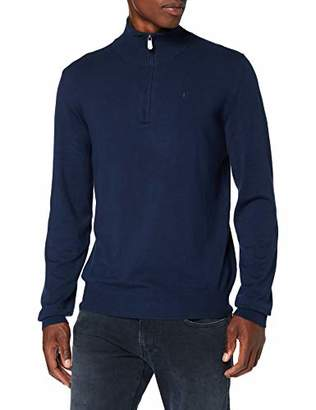 Trussardi Jeans Men's High Collar Slim Fit Ribs Visc Jumper, (Navy Blue U290), Small