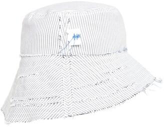 Ader Error Striped Cotton Canvas Bucket Cap