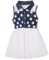 Dollhouse Dark Blue & White Sleeveless Dress - Infant, Toddler & Girls