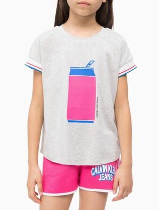 Calvin Klein Girls Printed Striped T-Shirt