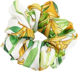 Versace Barocco Print Silk Scrunchie