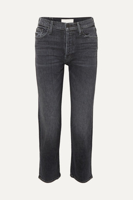 Mother The Tomcat Cropped High-rise Straight-leg Jeans - Black