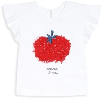 Catimini Baby's & Little Girl's Tomato Graphic Flutter-Sleeve Top