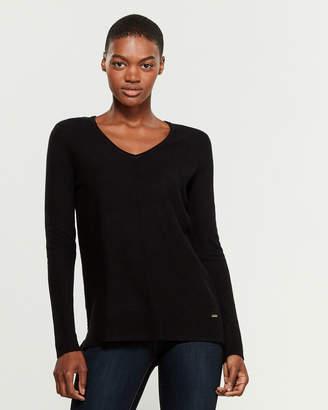 Calvin Klein Long Sleeve V-Neck Chevron Sweater