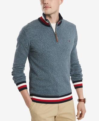 Tommy Hilfiger Men's Tall Size Cotton Quarter Zip Sweater