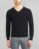 Belstaff Hemingby V Neck Sweater Navy Melange